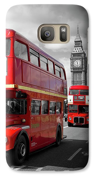 London Red Buses On Westminster Bridge Galaxy S7 Case