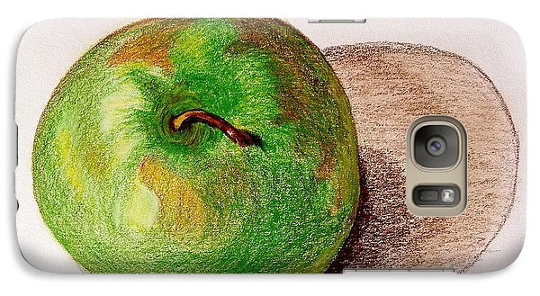 Galaxy Case featuring the drawing Lone Apple by Sheron Petrie