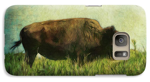 Galaxy Case featuring the photograph Lone Bison On The Prairie by Ann Powell