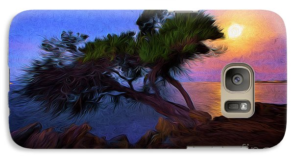 Galaxy Case featuring the photograph Lone Tree On Pacific Coast Highway At Moonset by John A Rodriguez