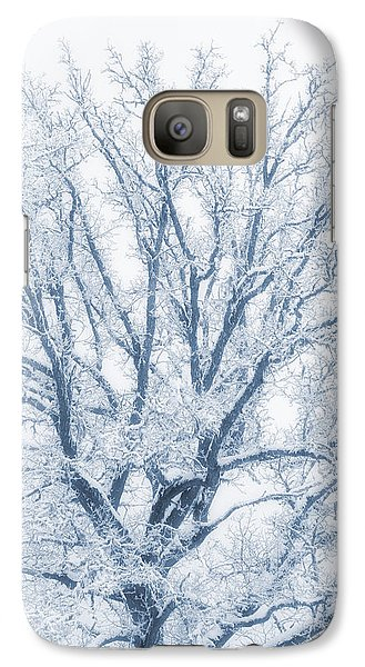 Galaxy Case featuring the photograph lonely Oak tree in snowy, misty landscape by Christian Lagereek