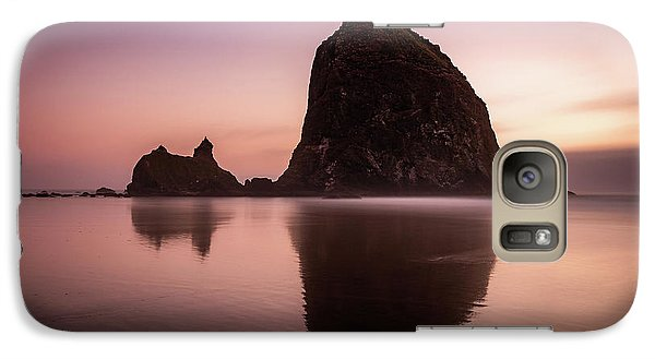 Galaxy Case featuring the photograph Long Exposure Of Haystack Rock At Sunset by Pierre Leclerc Photography
