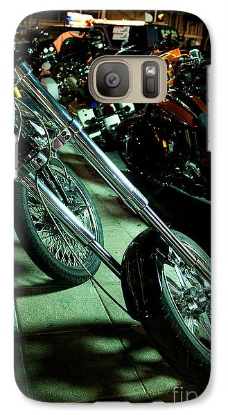 Galaxy Case featuring the photograph Long Front Fork And Wheel Of Chopper Bike At Night by Jason Rosette