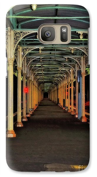 Galaxy Case featuring the photograph Long Platform Albury Station By Kaye Menner by Kaye Menner