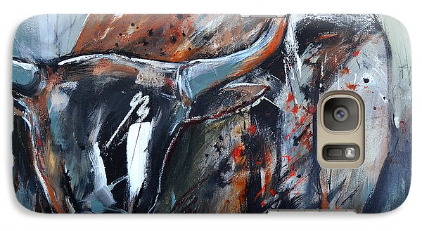 Galaxy Case featuring the painting Longhorn by Cher Devereaux