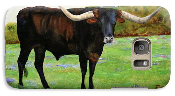 Galaxy Case featuring the painting Longhorn In Bluebonnets by Jimmie Bartlett