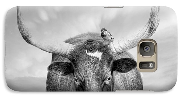Galaxy Case featuring the photograph Longhorn Respite by Robin-Lee Vieira