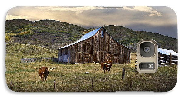 Galaxy Case featuring the photograph Longhorns On The Road To Steamboat Lake by John Hix