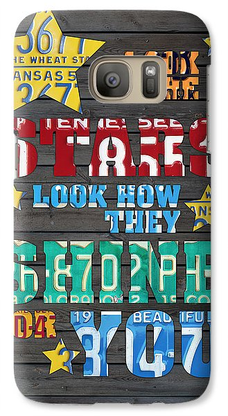 Look At The Stars Coldplay Yellow Inspired Typography Made Using Vintage Recycled License Plates Galaxy S7 Case