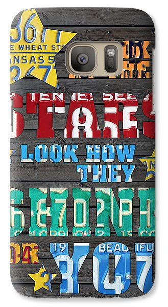 Look At The Stars Coldplay Yellow Inspired Typography Made Using Vintage Recycled License Plates Galaxy S7 Case by Design Turnpike