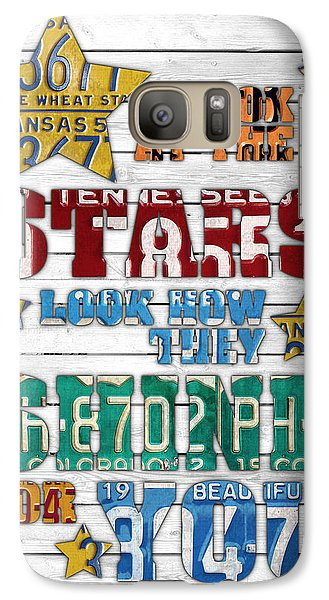 Look At The Stars Coldplay Yellow Inspired Typography Made Using Vintage Recycled License Plates V2 Galaxy S7 Case by Design Turnpike