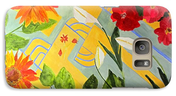 Galaxy Case featuring the painting Looking Down On The Flowers On The Tile Floor by Sandy McIntire
