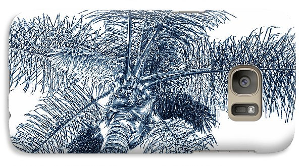 Galaxy Case featuring the photograph Looking Up At Palm Tree Blue by Ben and Raisa Gertsberg