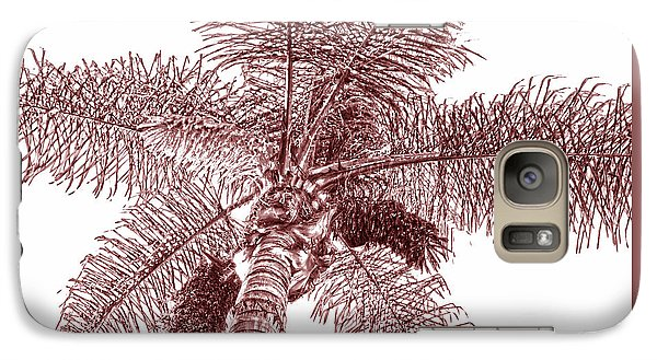 Galaxy Case featuring the photograph Looking Up At Palm Tree Red by Ben and Raisa Gertsberg