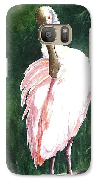Galaxy Case featuring the painting Look'n Back - Spoonbill by Roxanne Tobaison