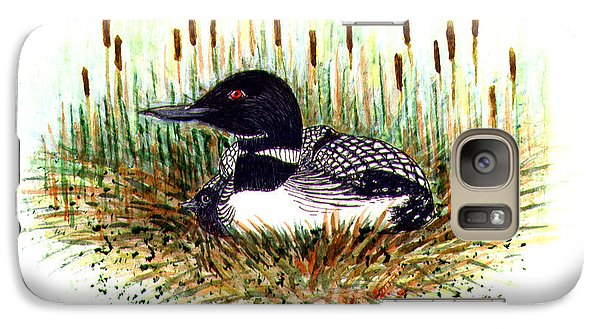 Galaxy Case featuring the painting Loon And Baby Judy Filarecki Watercolor by Judy Filarecki