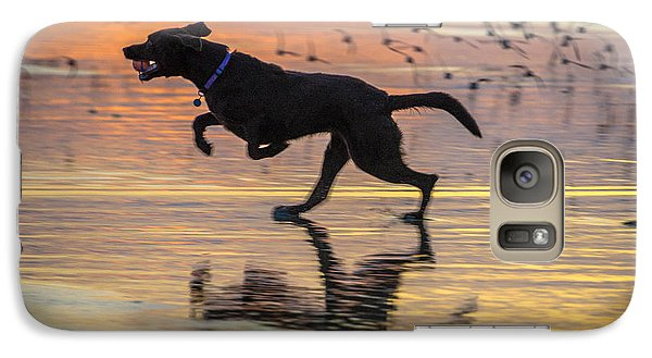 Galaxy Case featuring the photograph Loping Dog by Jerry Cahill