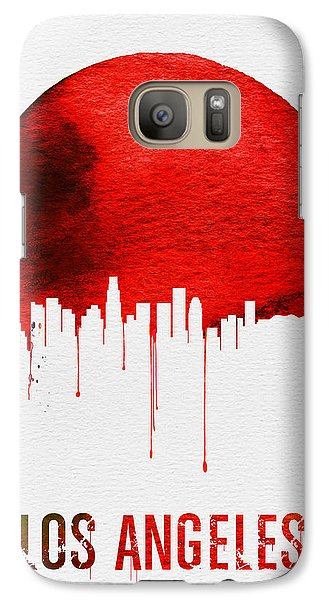 Los Angeles Skyline Red Galaxy S7 Case by Naxart Studio