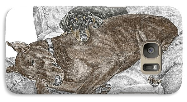 Galaxy Case featuring the drawing Lounge Lizards - Doberman Pinscher Puppy Print Color Tinted by Kelli Swan