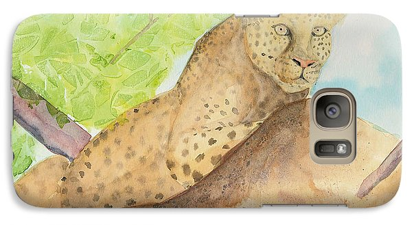 Galaxy Case featuring the painting Lounging Leopard by Vicki  Housel