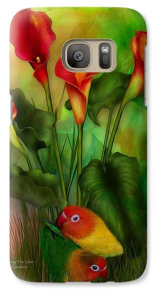 Lovebird Galaxy S7 Case - Love Among The Lilies  by Carol Cavalaris
