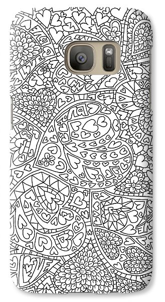 Love And Chrysanthemum Filled Hearts Vertical Galaxy S7 Case by Tamara Kulish