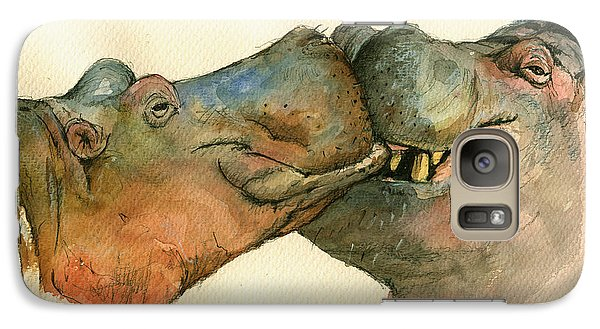 Love Between Hippos Galaxy Case by Juan  Bosco
