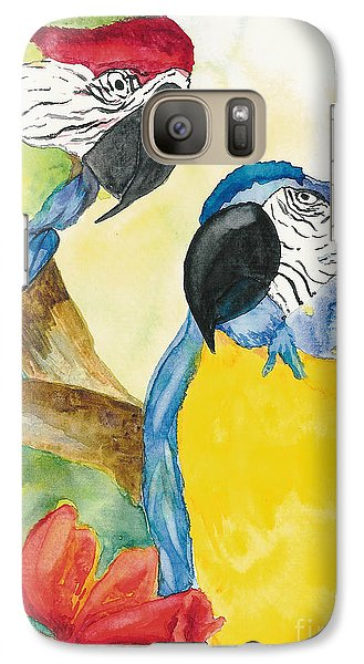 Galaxy Case featuring the painting Love Birds by Vicki  Housel