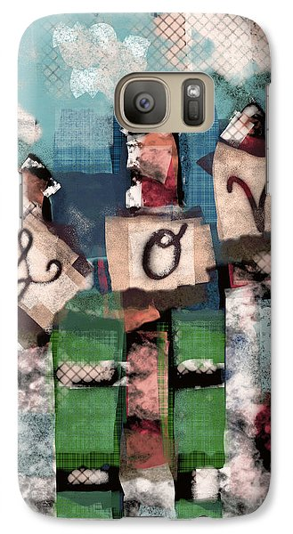 Galaxy Case featuring the mixed media Love Fence by Carrie Joy Byrnes