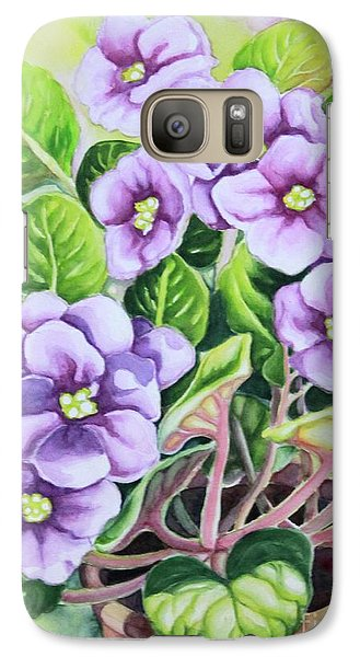 Galaxy Case featuring the painting Love In Purple 1 by Inese Poga