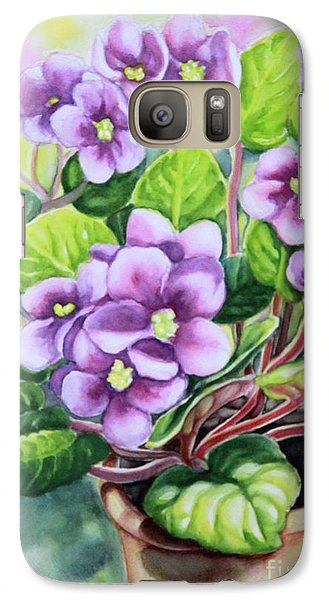 Galaxy Case featuring the painting Love In Purple 2 by Inese Poga