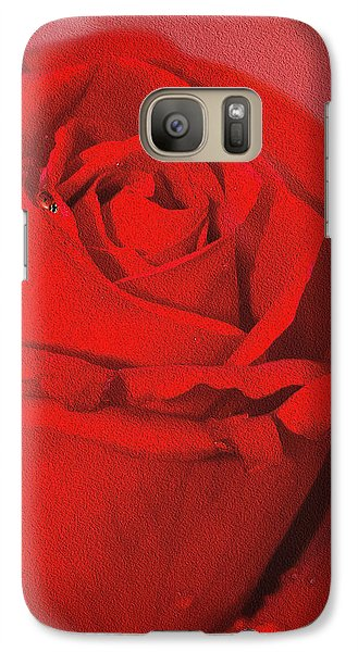 Galaxy Case featuring the photograph Love Is A Red Rose With Raindrops by Diane Schuster