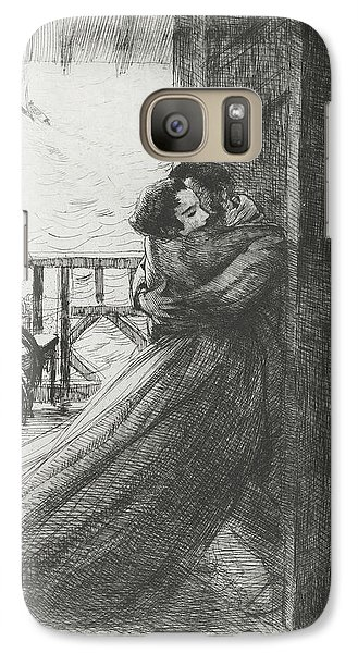 Galaxy Case featuring the drawing Love - La Femme Series by Paul-Albert Besnard