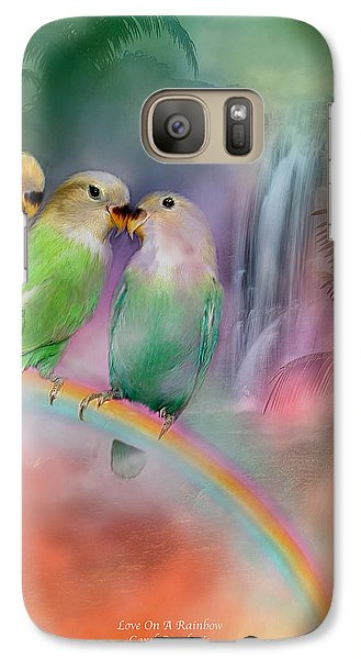Love On A Rainbow Galaxy Case by Carol Cavalaris
