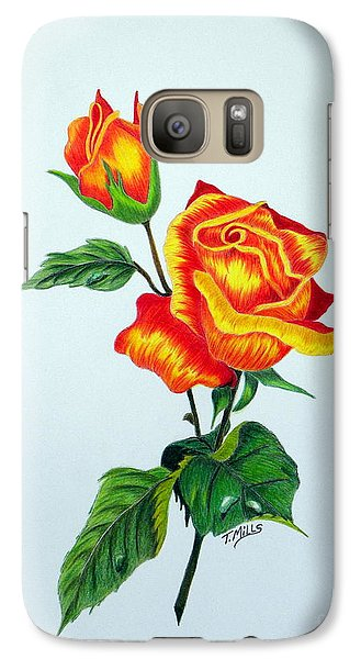 Galaxy Case featuring the drawing Lovely Rose by Terri Mills