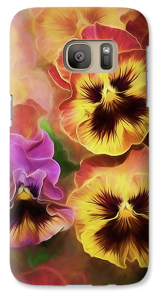 Galaxy Case featuring the photograph Lovely Spring Pansies by Diane Schuster