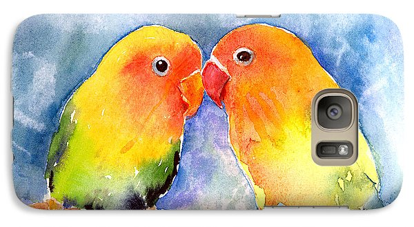 Lovey Dovey Lovebirds Galaxy Case by Arline Wagner