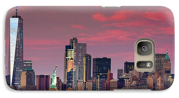 Galaxy Case featuring the photograph Lower Manhattan In Pink by Emmanuel Panagiotakis