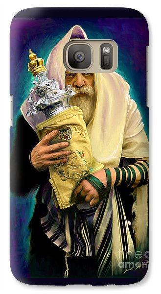 Galaxy Case featuring the painting Lubavitcher Rebbe With Torah by Sam Shacked