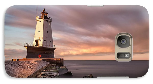 Galaxy Case featuring the photograph Ludington Light Sunrise Long Exposure by Adam Romanowicz