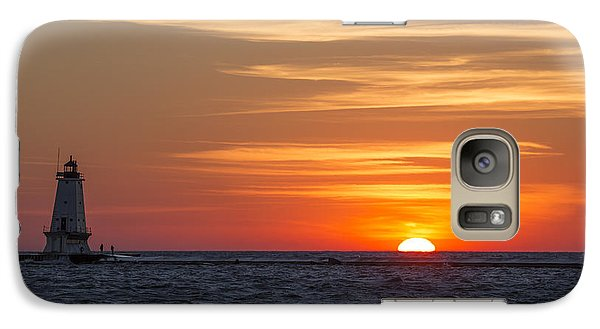 Galaxy Case featuring the photograph Ludington North Breakwater Light At Sunset by Adam Romanowicz