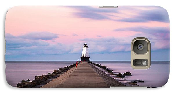 Galaxy Case featuring the photograph Ludington North Breakwater Light Sunrise by Adam Romanowicz