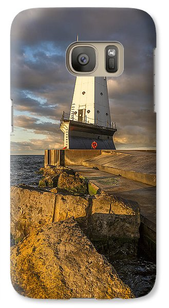Galaxy Case featuring the photograph Ludington North Breakwater Lighthouse At Sunrise by Adam Romanowicz