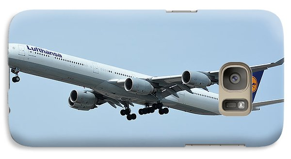 Galaxy Case featuring the photograph Lufthansa Airbus A340-600 D-aihw Los Angeles International Airport May 3 2016 by Brian Lockett