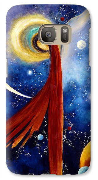 Galaxy Case featuring the painting Lunar Angel by Marina Petro