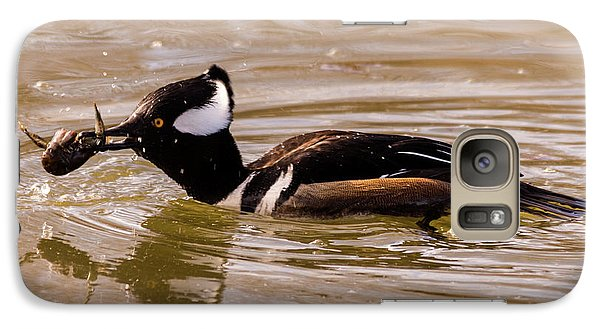 Galaxy Case featuring the photograph Lunchtime For The Hooded Merganser by Randy Scherkenbach