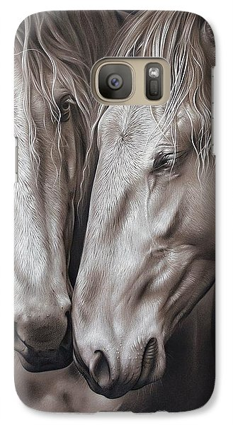 Galaxy Case featuring the drawing Lusitano Pair by Elena Kolotusha