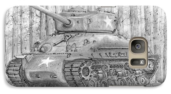 Galaxy Case featuring the drawing M-4 Sherman Tank by Jim Hubbard