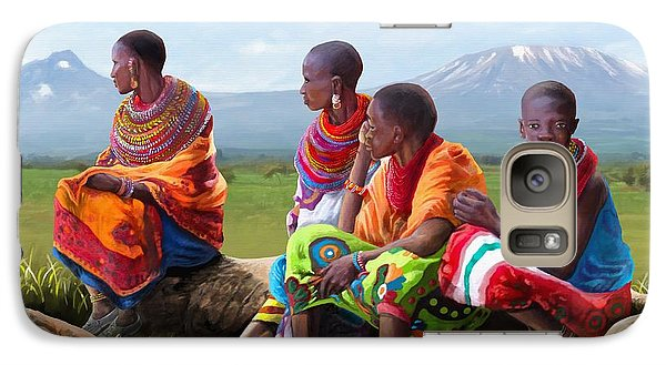Galaxy Case featuring the painting Maasai Women by Anthony Mwangi