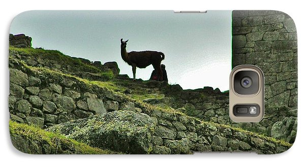 Galaxy Case featuring the photograph  Macchu Picchu Llama Silhouette  by Michele Penner